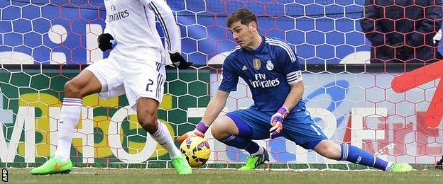 Iker Casillas fails to prevent Atletico Madrid's first goal from Tiago