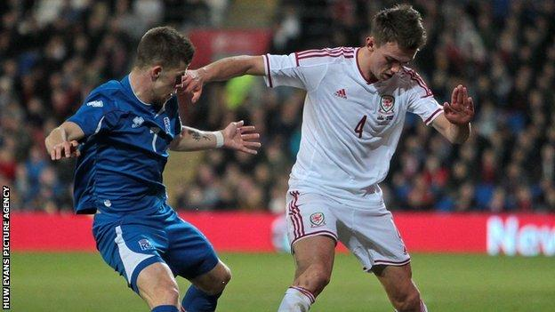 Emyr Huws made his Wales debut in a 3-1 friendly against Iceland in March 2014