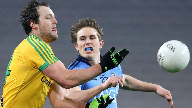 Donegal forward Michael Murphy in action against Michael Fitzsimons of Dublin