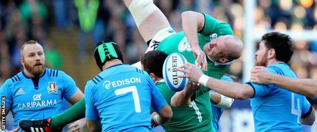 Paul O'Connell is brought down in the line-out