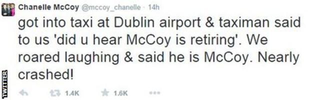 Chanelle McCoy tweet