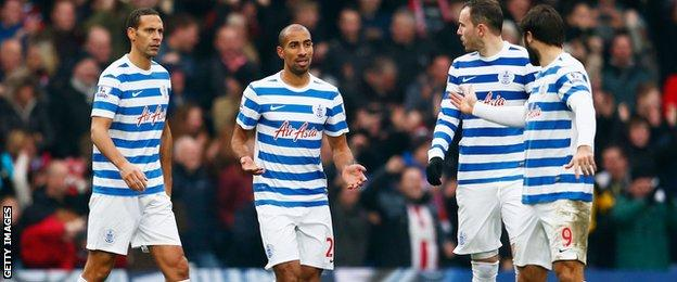 QPR players react to conceding a goal
