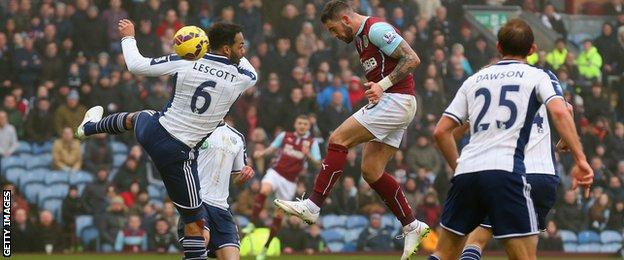 Danny Ings heads in Burnley's second goal against West Brom