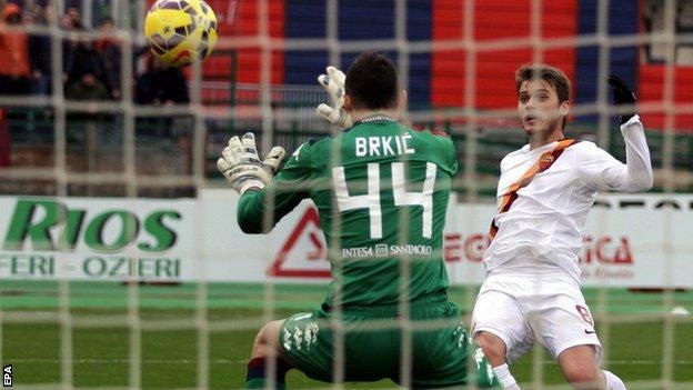 Adem Ljajic puts Roma 1-0 ahead in the 38th minute