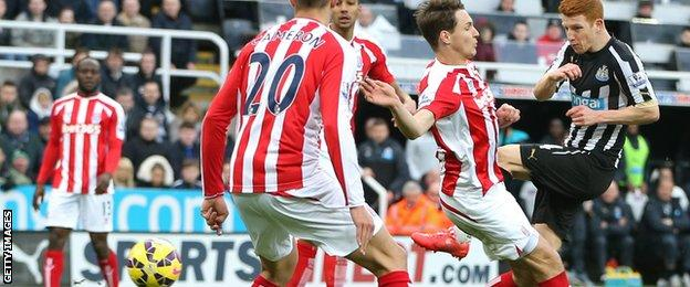 Newcastle midfielder Jack Colback puts his side in front against Stoke