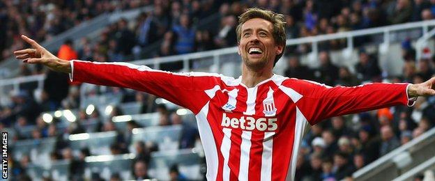 Stoke striker Peter Crouch celebrates scoring his side's equaliser at Newcastle