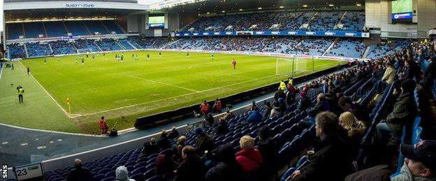 Just 11,422 were at Ibrox for the Scottish Cup last 16 tie.