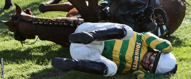 AP McCoy fall from from Butler's Cabin in the 2008 Grand National