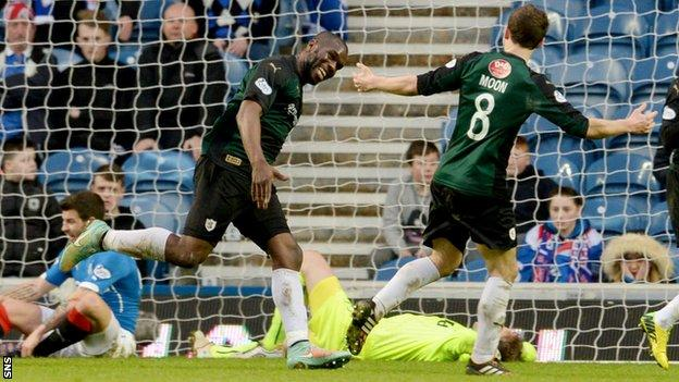 Christian Nade (left) celebrates after putting Raith Rovers 2-1 ahead against Rangers.