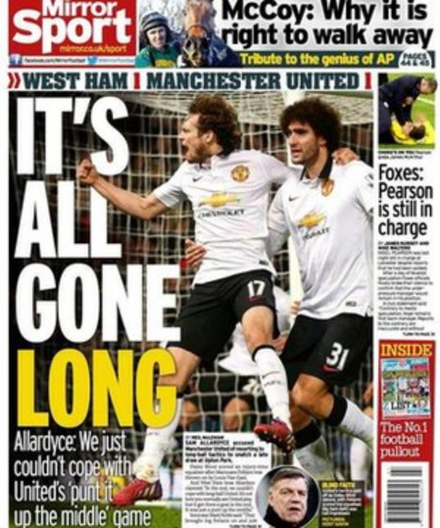 The back page of Monday's Daily Mirror