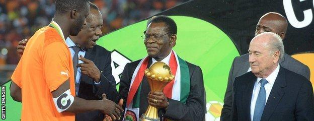 Ivory Coast skipper Yaya Toure receives the Africa Cup of Nations trophy