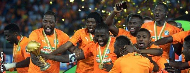 Ivory Coast players revel in winning a second Africa Cup of Nations for their country