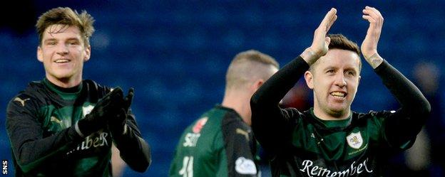 Raith Rovers celebrate their win over Rangers