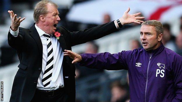 Derby head coach Steve McClaren (left) and first-team coach Paul Simpson