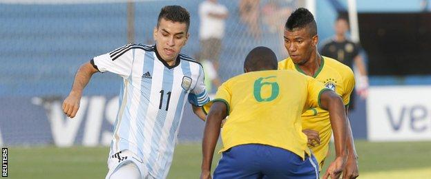 Argentina's Angel Correa in action against Brazil during the South American Under-20 Championship