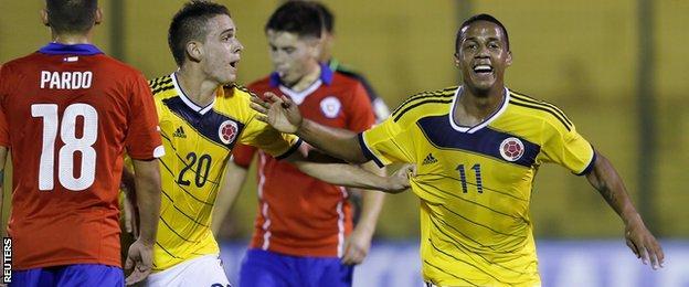 Colombia's Jeison Steven Lucumi celebrates scoring a goal against Chile at the South American under-20 championship in Maldonado