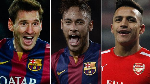 Lionel Messi, Neymar and Alexis Sanchez