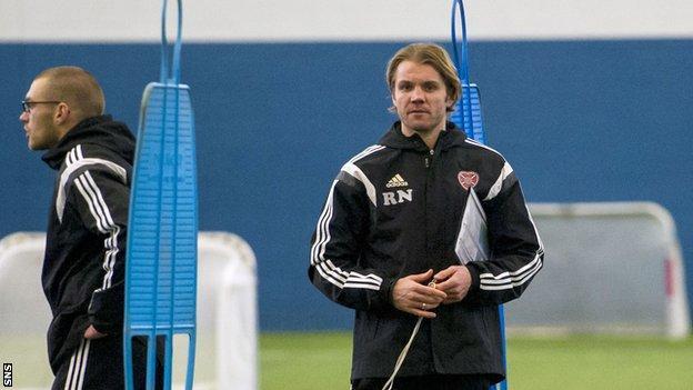 Robbie Neilson takes Hearts training
