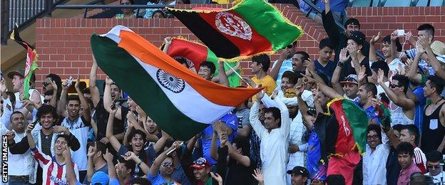 India and Afghanistan fans at the Adelaide Oval