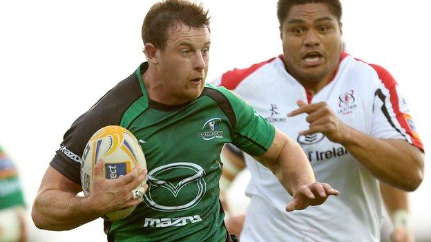 Willie Faloon sprints sprints clear of Nick Williams, who will become his team-mate at Ulster