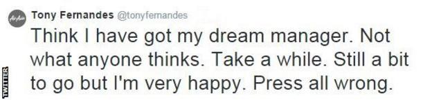 QPR chairman Tony Fernandes on Twitter