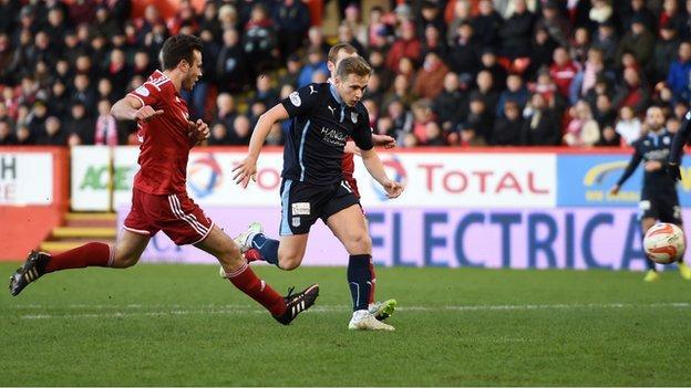 Greg Stewart scores for Dundee against Aberdeen