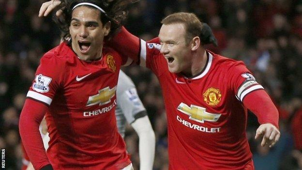 Radamel Falcao and Wayne Rooney