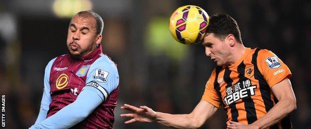 Alex Bruce heads the ball while Gabriel Agbonlahor jumps