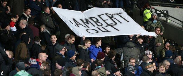 Aston Villa fans' banner at the KC Stadium