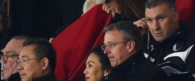Leicester owners and Nigel Pearson watch the side against Arsenal