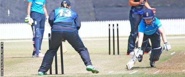 England's Heather Knight is run out
