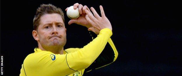 Australia captain Michael Clarke bowling