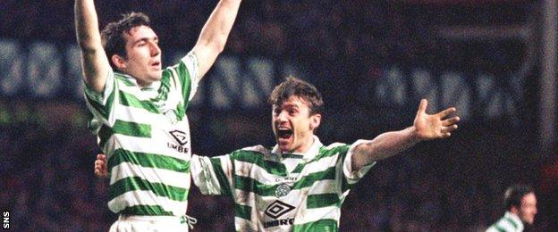 Alan Stubbs (left) regularly battled Rangers as a player while in the colours of Celtic.