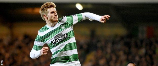 Stuart Armstrong, the last player to score against Celtic, got his first goal for his new club.