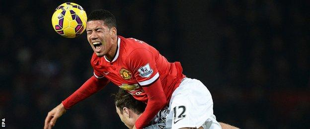 Manchester United defender Chris Smalling in action against Burnley