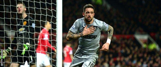 Burnley forward Danny Ings celebrates scoring against Manchester United