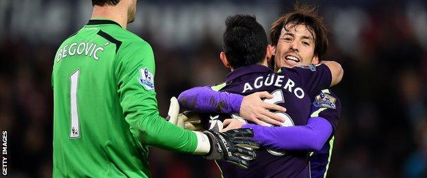 Sergio Aguero has scored five goals in five Premier League appearances against the Potters