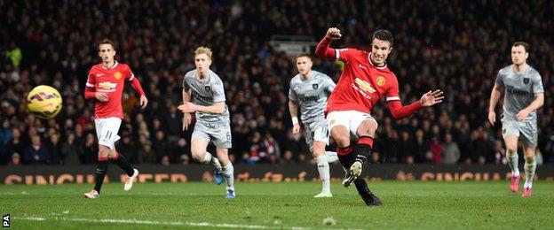 Robin van Persie scores a penalty for Manchester United against Burnley