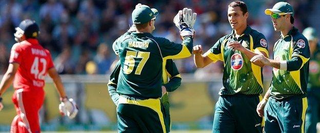 Australia dismiss England's Ravi Bopara during the tri-series on 12 January at Melbourne