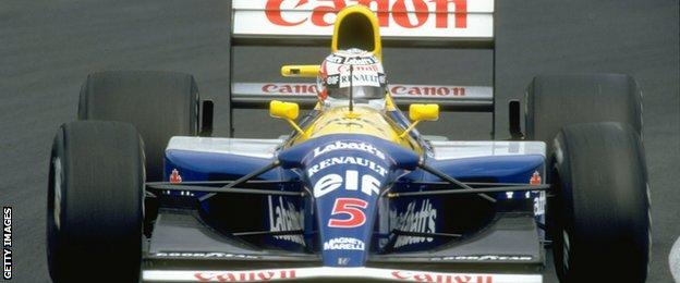 Nigel Mansell driving the 1992 Williams