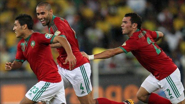 Morocco players celebrate goal