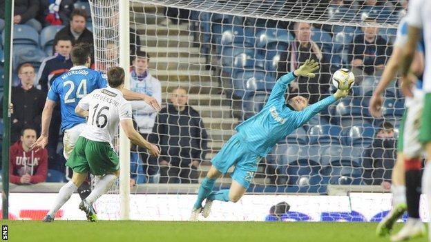 Lewis Stevenson volleyed past Lee Robinson to seal victory for Hibs.