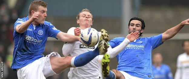 St Johnstone pair Brian Easton (left) and Simon Lappin crowd out Gary Mackay-Steven