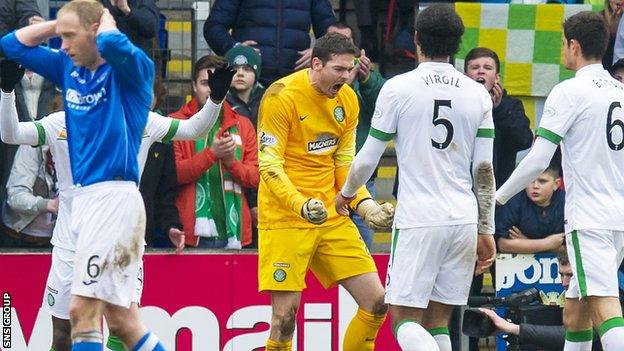 Craig Gordon made a late double-save to preserve Celtic's 2-1 lead