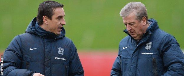 England coach Gary Neville and manager Roy Hodgson