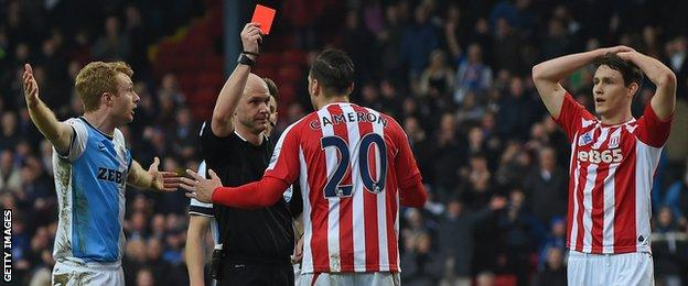 Stoke defender Geoff Cameron sent off