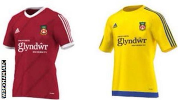 Wrexham home and away shirts