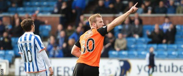 Dundee United's Henri Anier scored his first goal for the club in the first half.