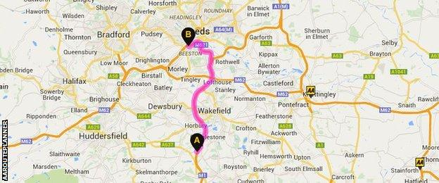 Map of Woolley Edge to Elland Road