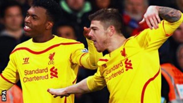 Liverpool's Daniel Sturridge and Alberto Moreno